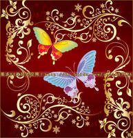 butterfly Flowers vector brush by coolwing