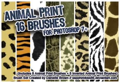 16 Animal Print Brushes by sapphirekiss86