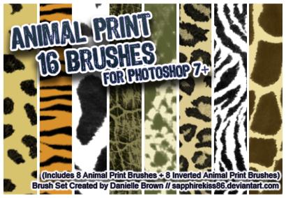 16 Animal Print Brushes by sapphirekiss86