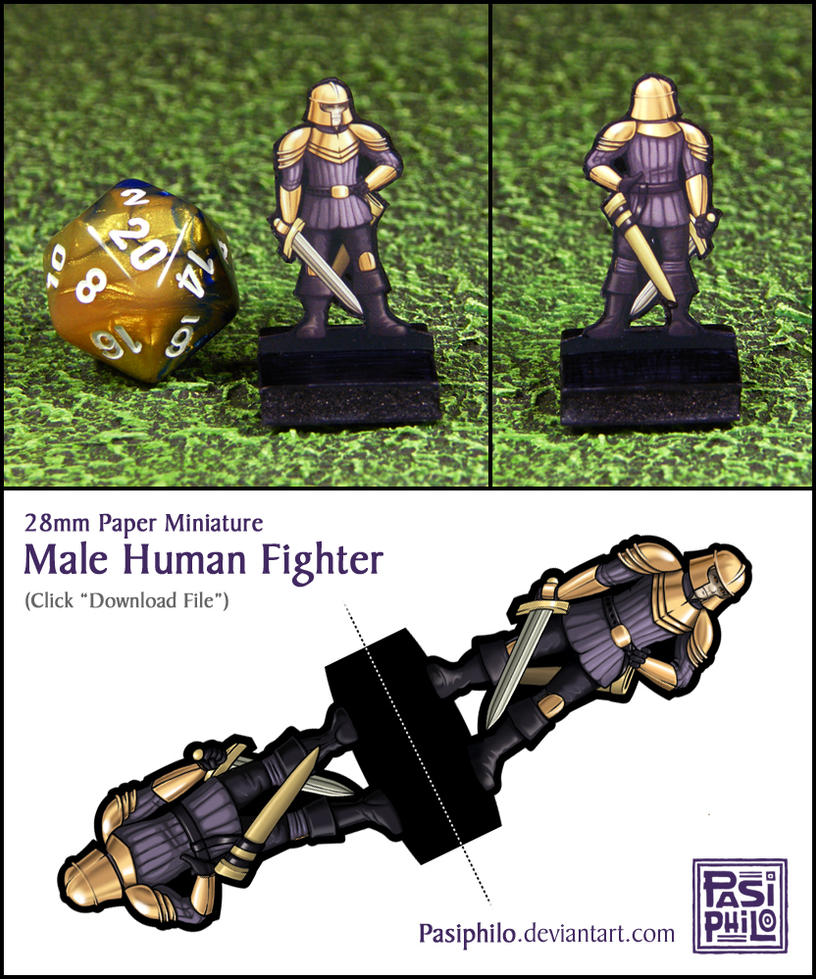Male Human Fighter - 28mm Paper Mini by Pasiphilo