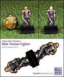 Male Human Fighter - 28mm Paper Mini