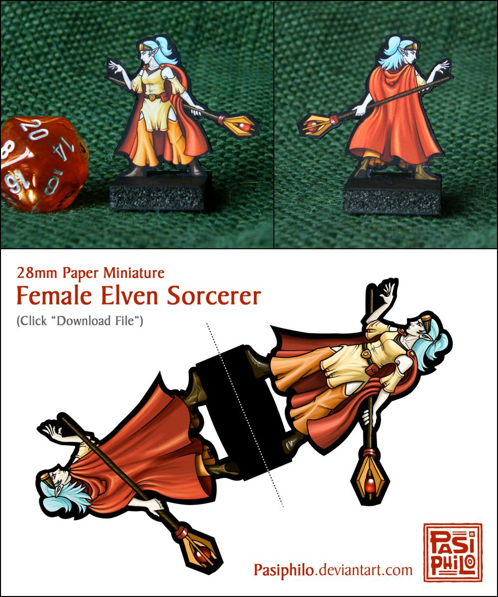 Female Elven Sorcerer - 28mm Paper Mini by Pasiphilo on DeviantArt