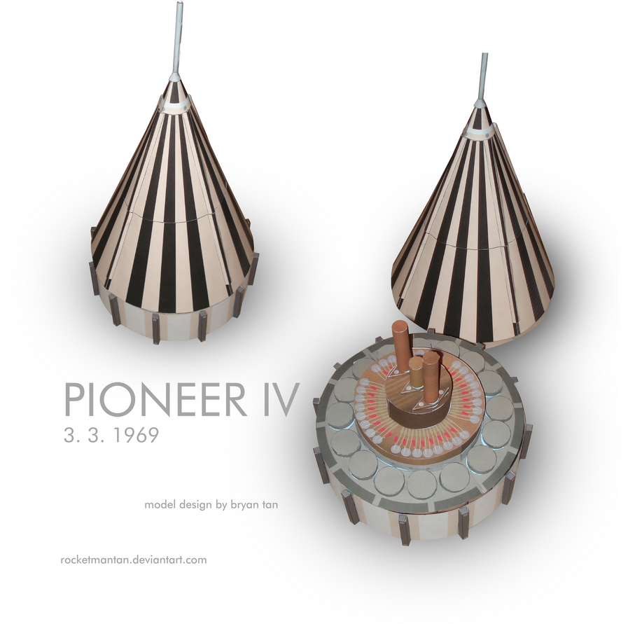 Full Size Pioneer 4 Spacecraft Paper Model by RocketmanTan