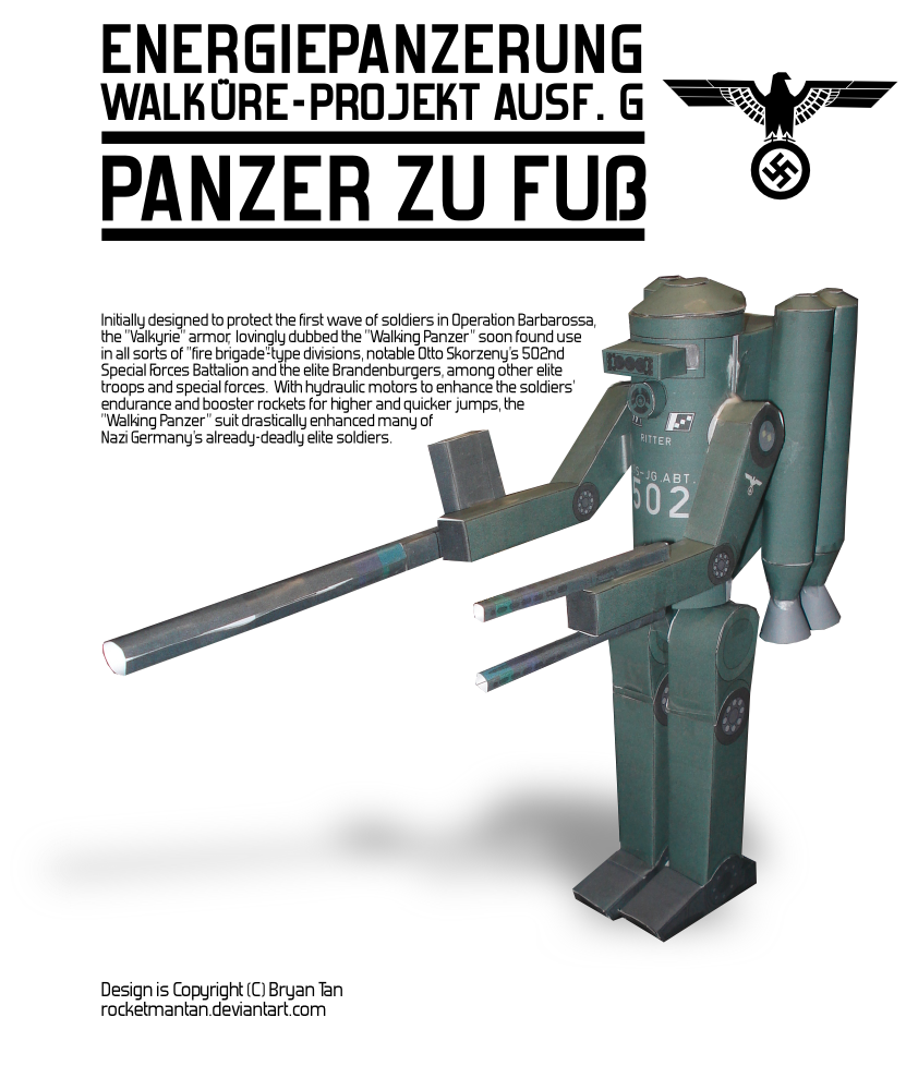 Nazi Mech Suit Paper Model by RocketmanTan