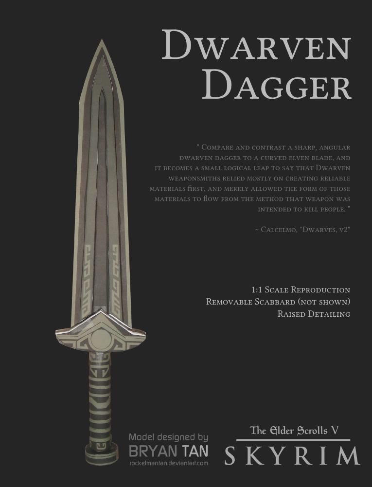 Skyrim - Dwarven Dagger Paper Model by RocketmanTan