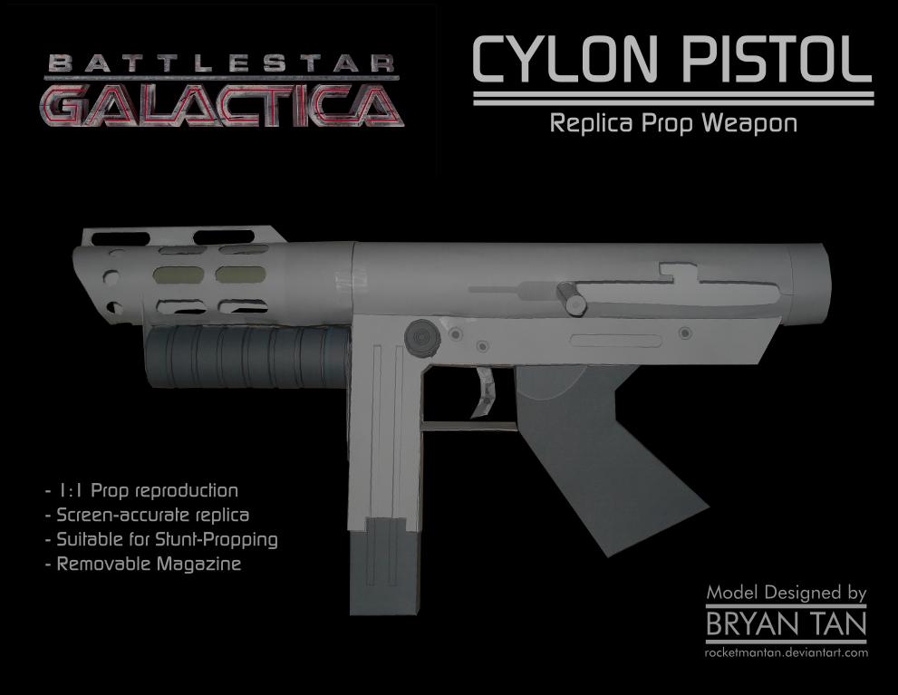 BSG - Cylon Pistol Paper Model by RocketmanTan on DeviantArt
