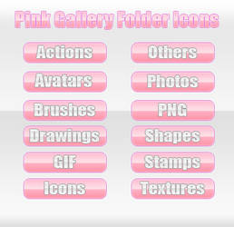 Pink Gallery Folder Icons by LexiiQ