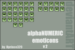alphaNUMERIC emoticons v 2 by hprince329