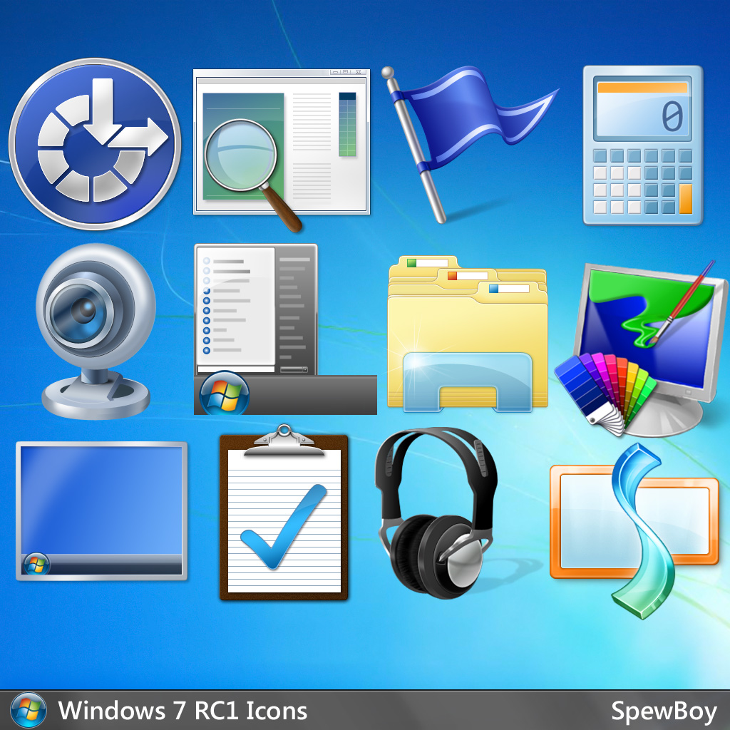 Windows 7 Official 256x256 Icons (PNG) by muckSponge on