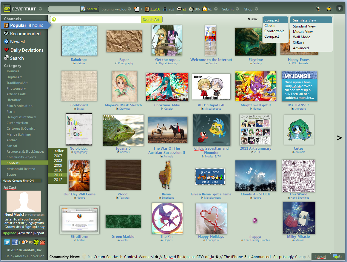 deviantART v8 Homepage Concept - Seamless Compact by LabLayers