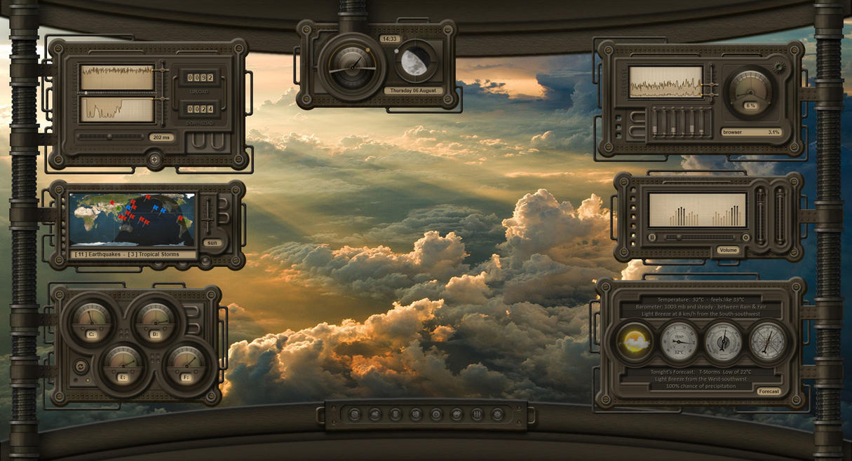 Steel plates with pipes: Rainmeter Dieselpunk HUD by Mordasius