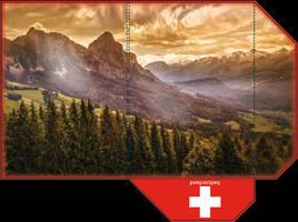 Swiss mountains A4 folder - print ready