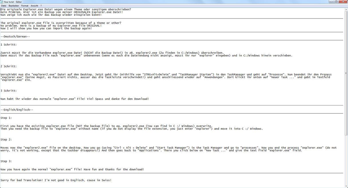 Windows 7 - Explorer exe - ORIGINAL Backup File! by