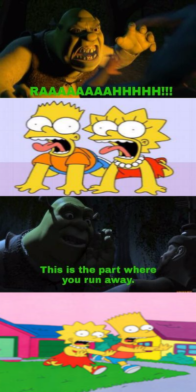 Bart and Lisa scared of Shrek by TheCartoonWizard