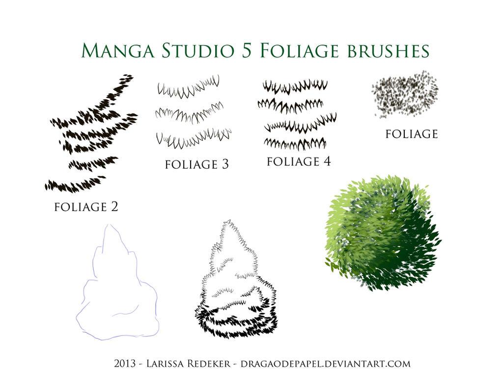 Foliage Brushes for Manga Studio 5 by dragaodepapel