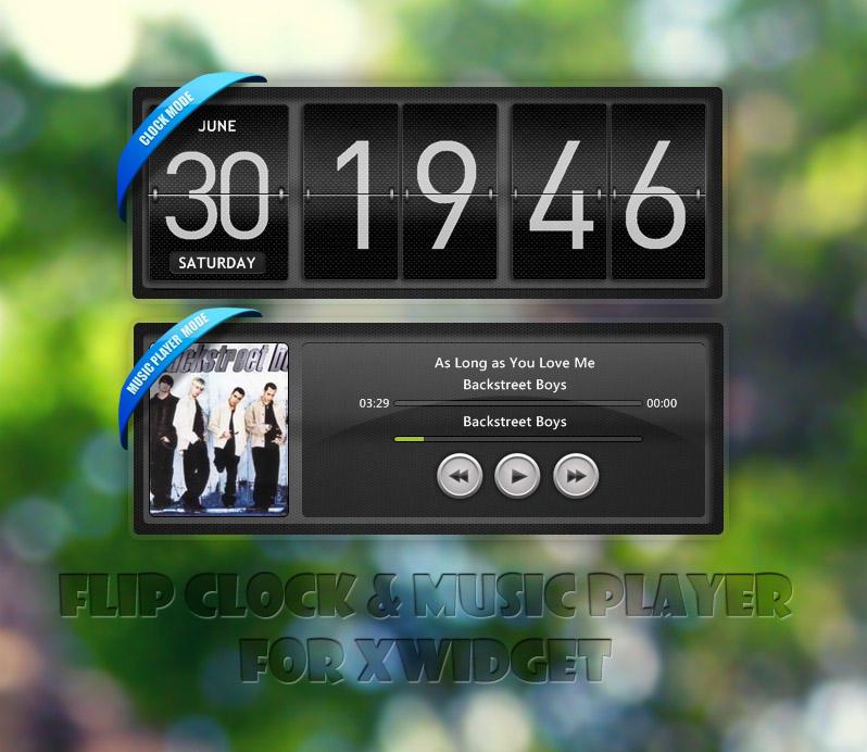 Flip Clock + Music Player for XWidget by boyzonet
