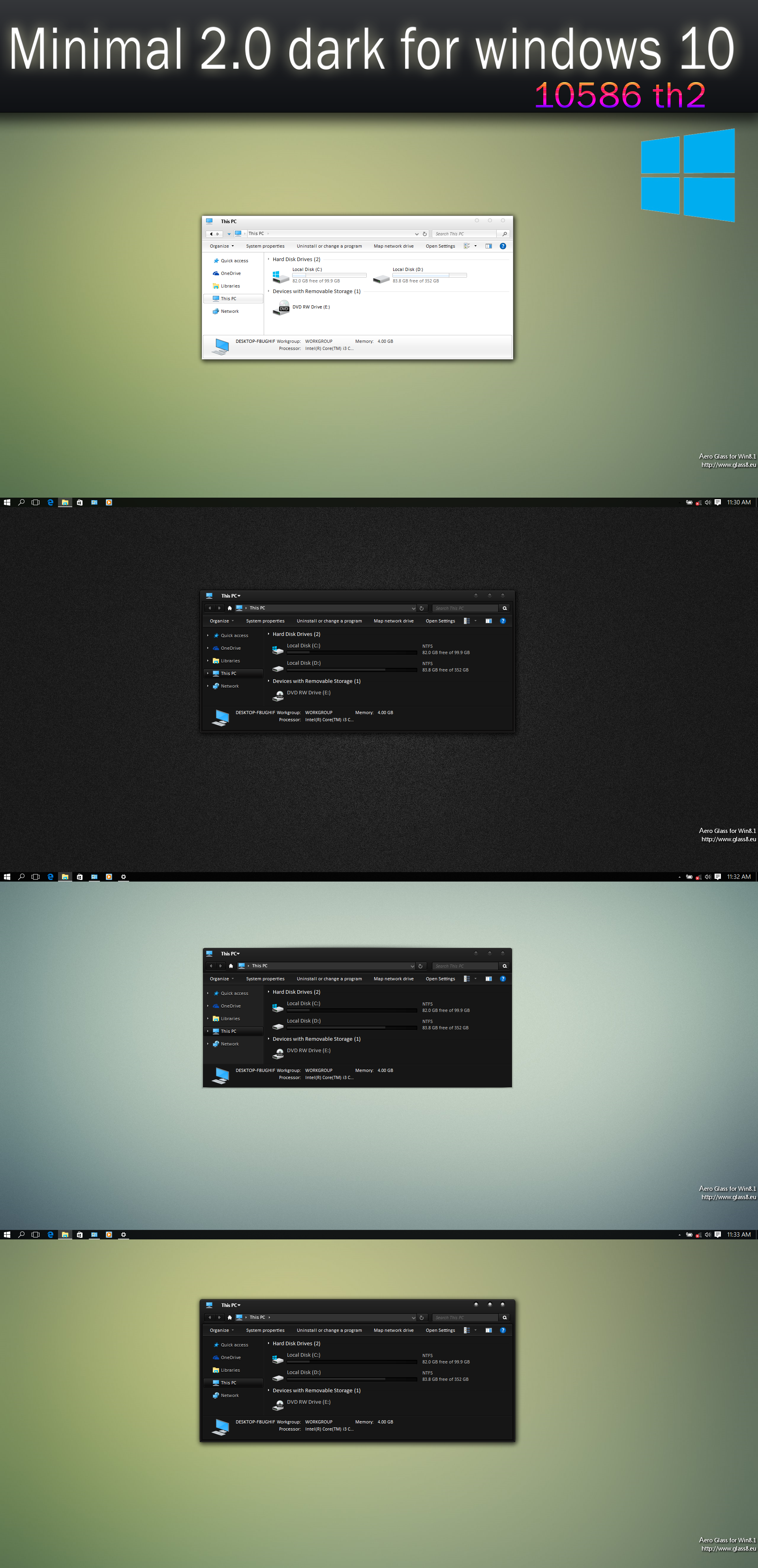 Minimal 2.0 dark for windows 10 by swapnil36fg