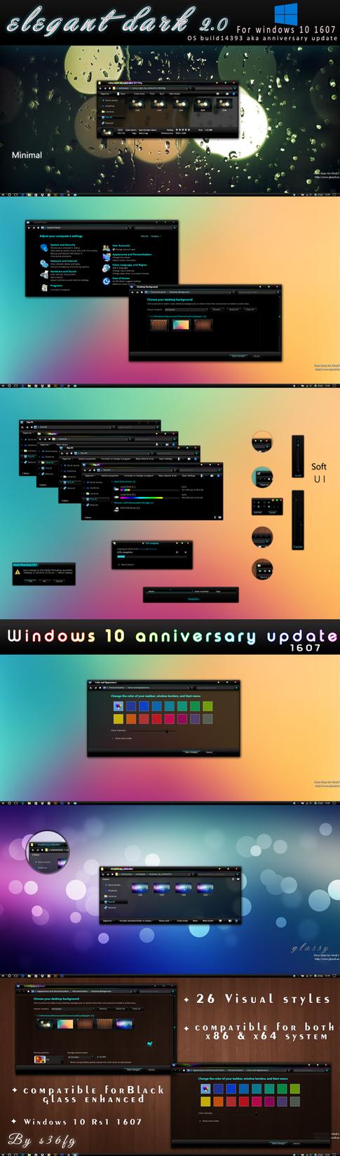 Elegant dark 2.0 theme for windows 10 (1607) by swapnil36fg