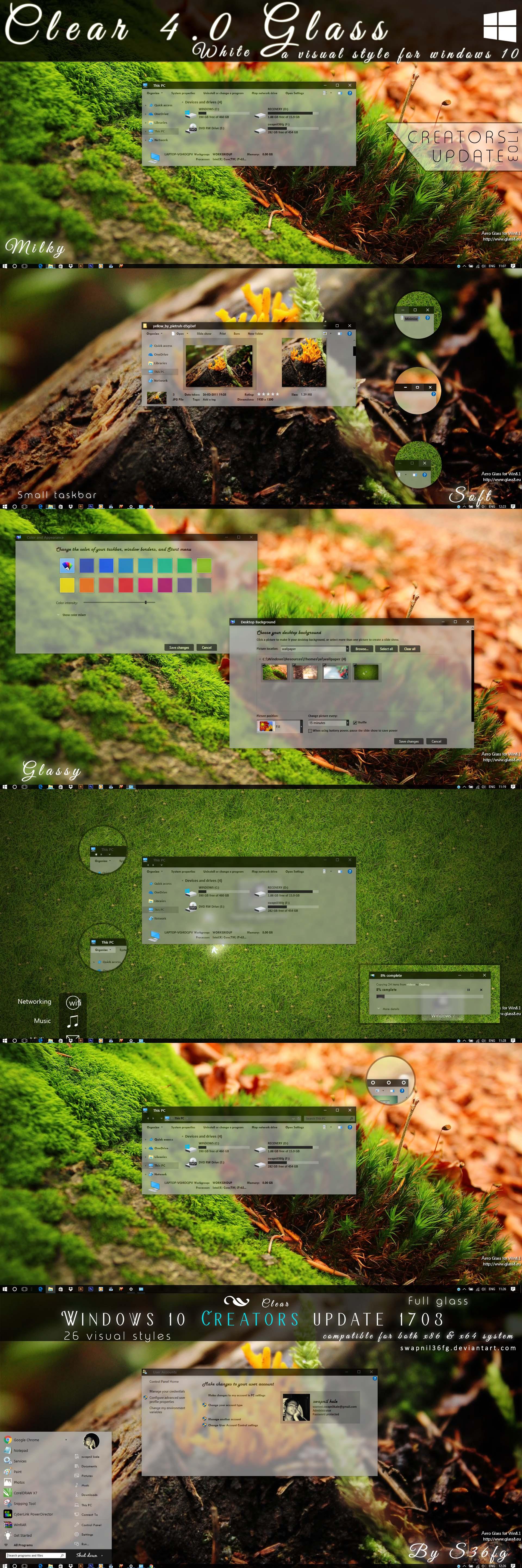 Clear 4.0 glass  for windows 10 creators update