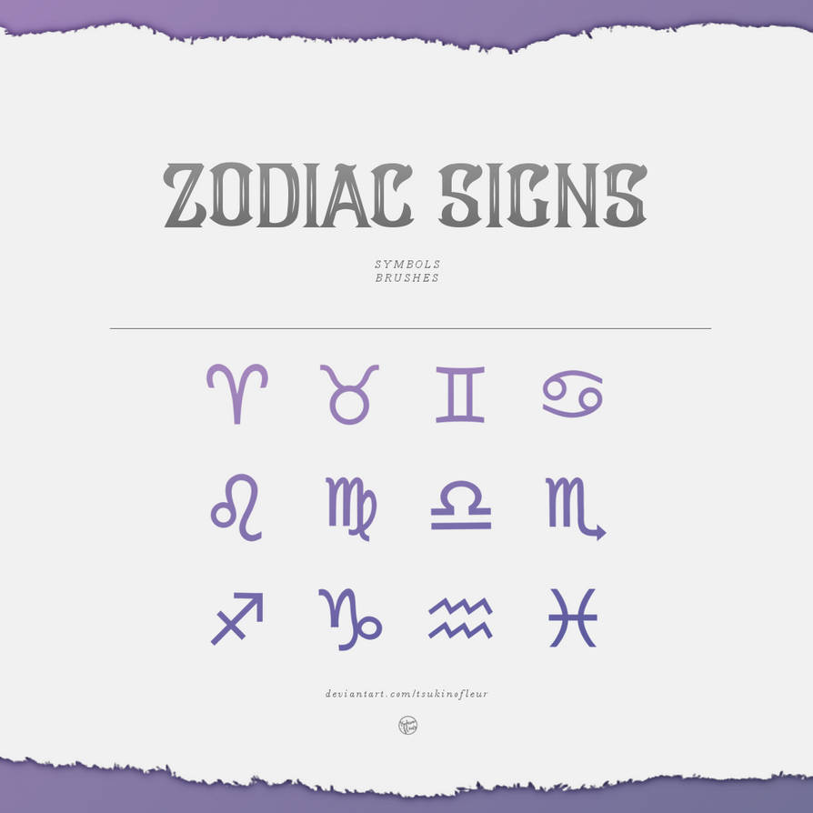 BRUSHES] Zodiac Signs / Symbols by TsukinoFleur on DeviantArt