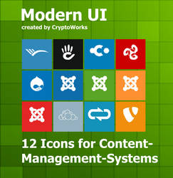 Modern UI 12 Icons for CMS by CryptoWorks