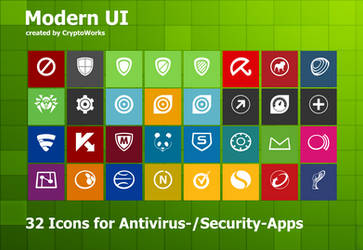 Modern UI 35 Icons for Antivirus/Security Apps by CryptoWorks