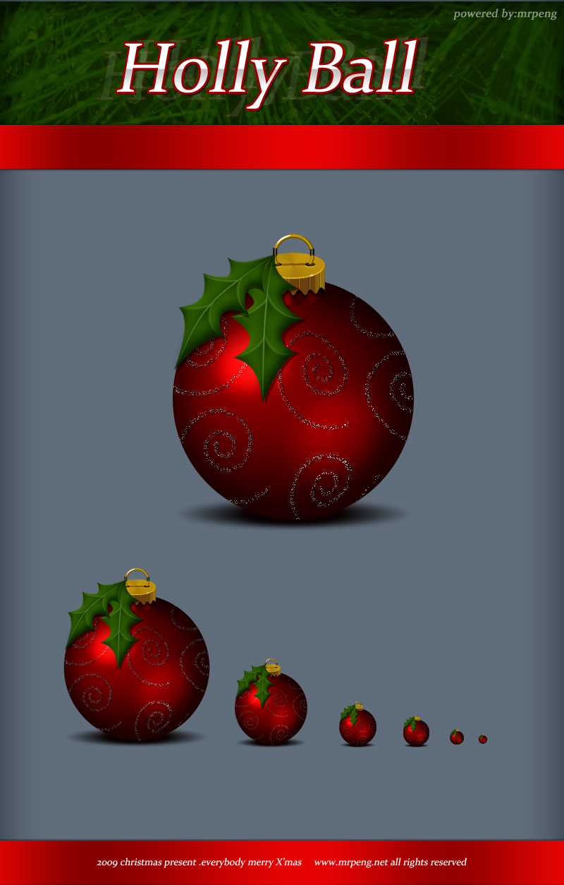 Christmas_holly ball icons