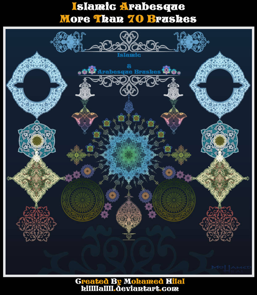 70 Islamic arabesque brushes Set 1 HQ