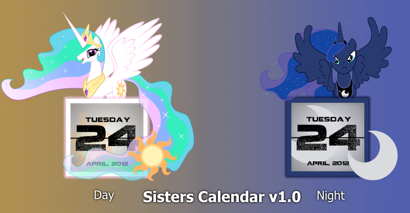 Sisters Calendar (Celestia and Luna) V1.0 by kadono