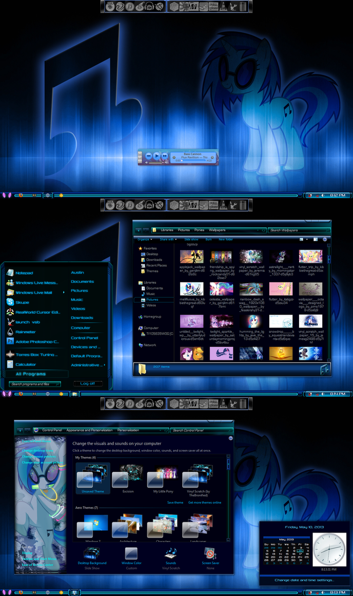 Vinyl Scratch Theme (Windows 7) by TheBronified