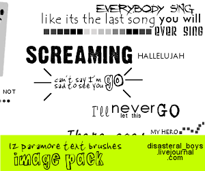 Paramore text brushes_imgpack by xhallelujahx