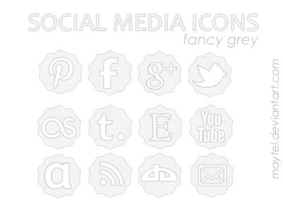 social media icons - fancy grey