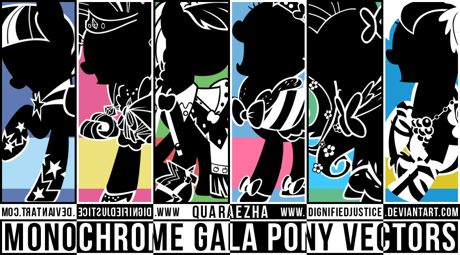 Monochrome Gala Ponies Vector Pack by Paradigm-Zero