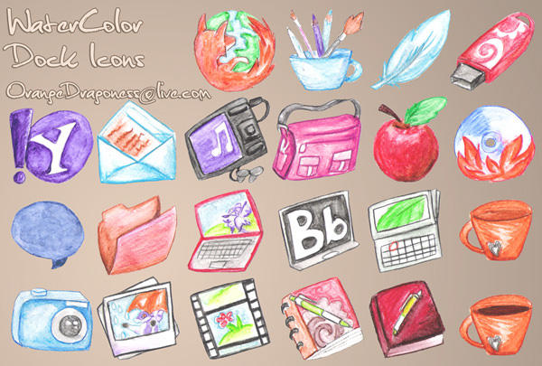 watercolor dock icons