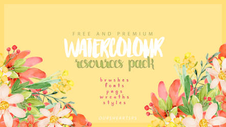 Watercolour Resources Pack by oursheartsps by oursheartsps