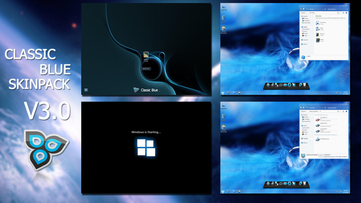 Classic Blue SkinPack V3 for Win7 released