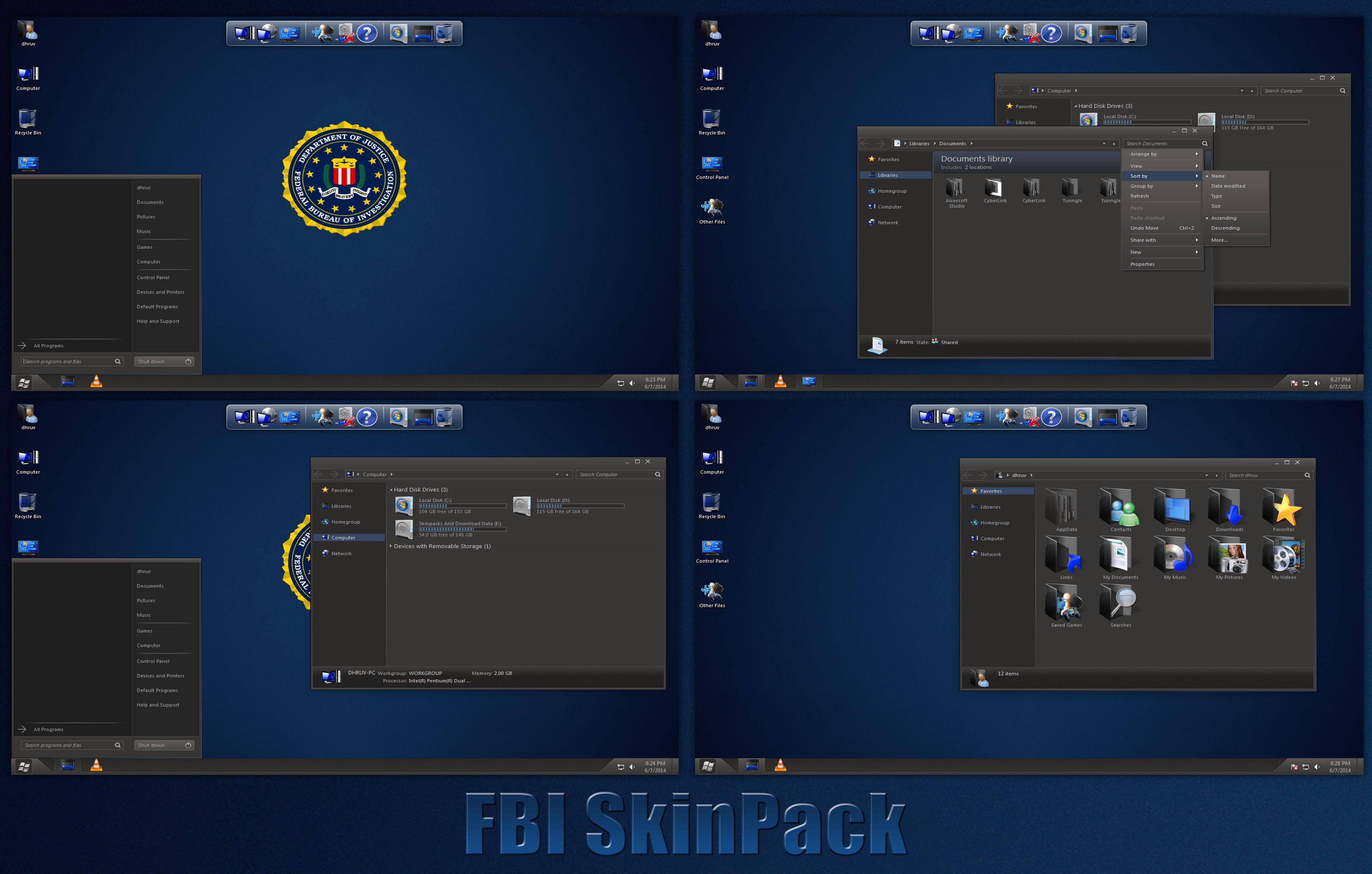 fbi skinpack for windows 7881 by thedhruv on deviantart