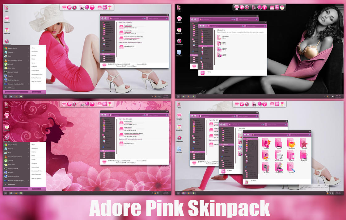 Adore Pink SkinPack For Win8/8.1/7