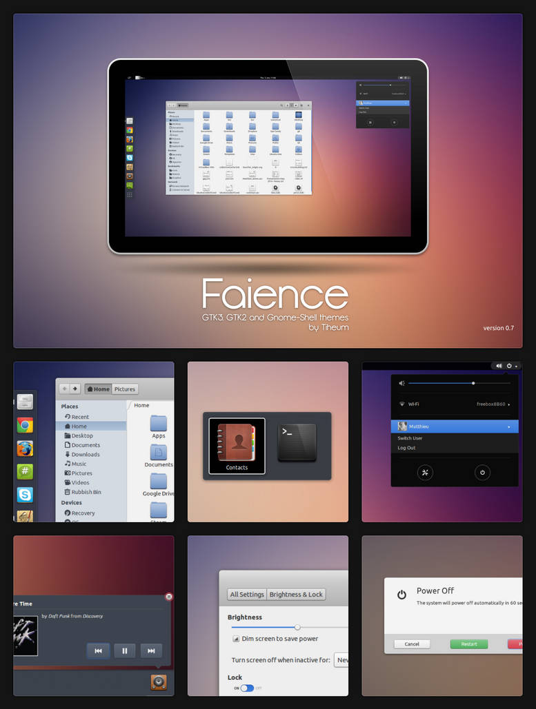 GTK3+Gnome Shell - Faience by tiheum on DeviantArt