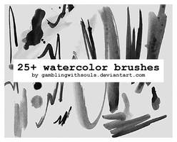 25+ Watercolor Brushes by gamblingwithsouls