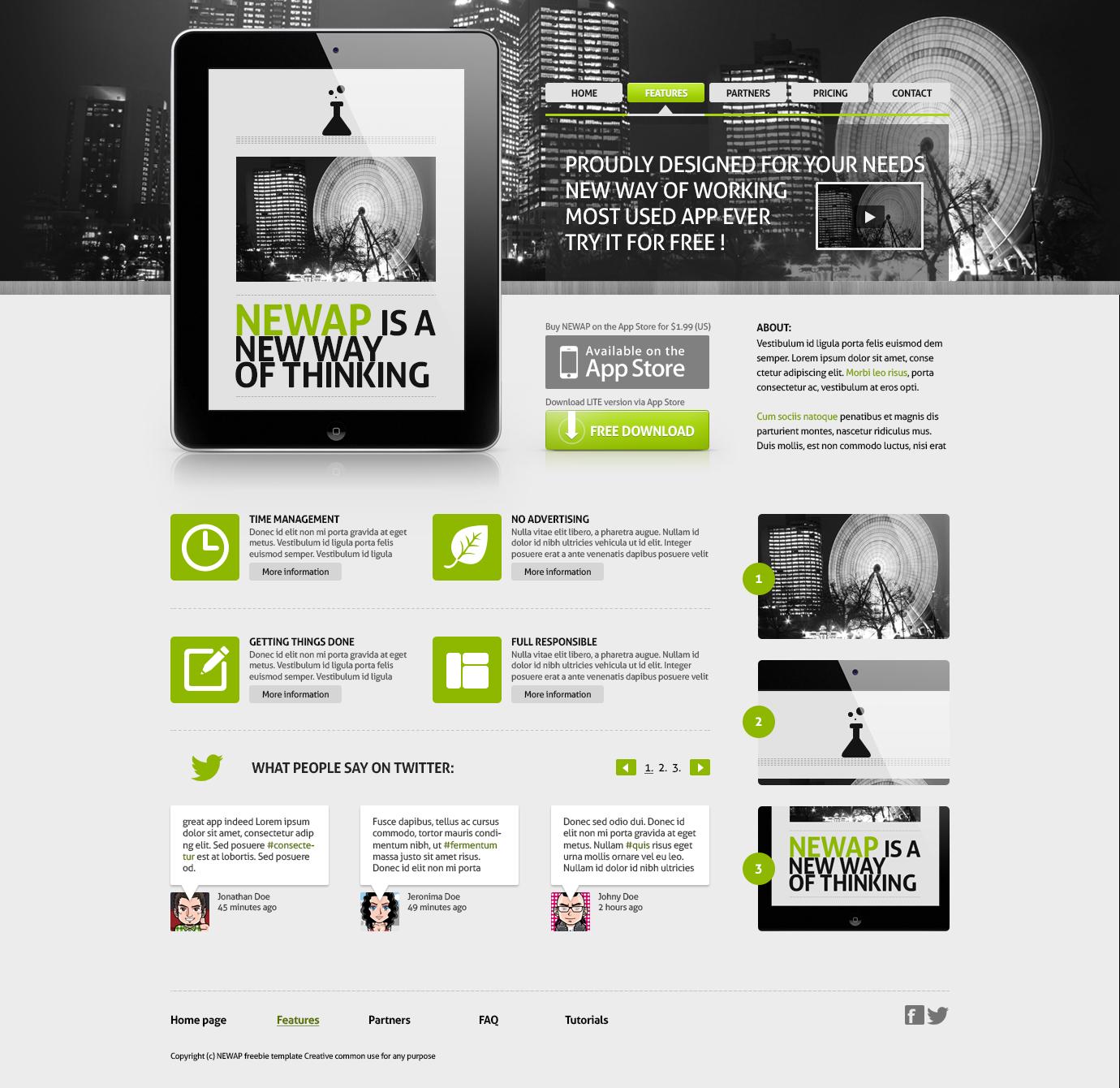 Newap freebie web template