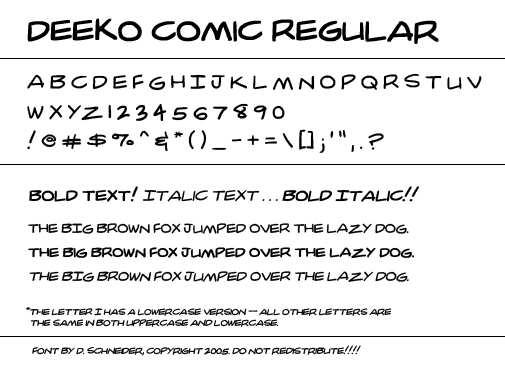 DC Comic Book Style TTF Font