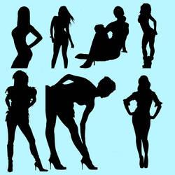 Female silhouette brushes 2