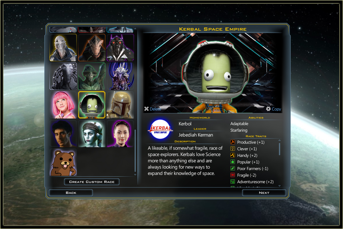 how to create a custom race foreground gal civ 3