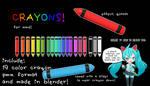 [mmd DL] crayons! [19 colors!]