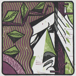 Wood elf. Linocut. Animation