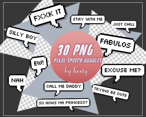 30 PNG Pixel Speech Bubbles Pack By Hasty by hasssty