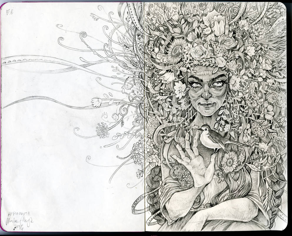 Slavic Witch - drawing process