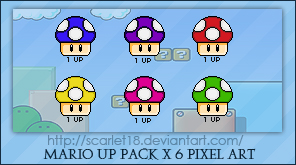 Mario Mushrooms Packx6 by Scarlet18 on DeviantArt by Scarlet18