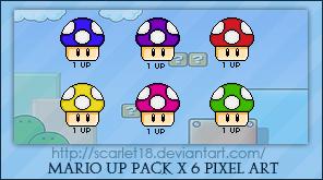 Mario Mushrooms Packx6 by Scarlet18 on DeviantArt by Scarlet18